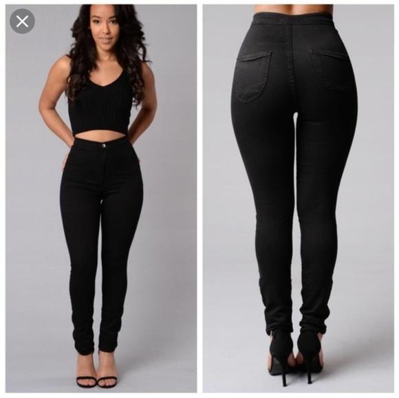 Fashion Nova Carolina High Waisted Black Jeans